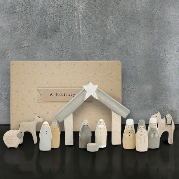 Wooden Nativity Set large