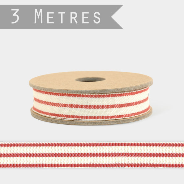 Ribbon-2 stripe red/cream