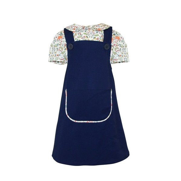 Rosamund Blue Pinafore Dress with Fox blouse