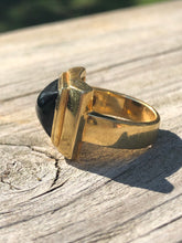 Load image into Gallery viewer, 18k Yellow Gold and Black Jade Men's Ring
