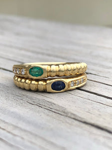 18k Gold Emerald And Sapphire Bypass Ring