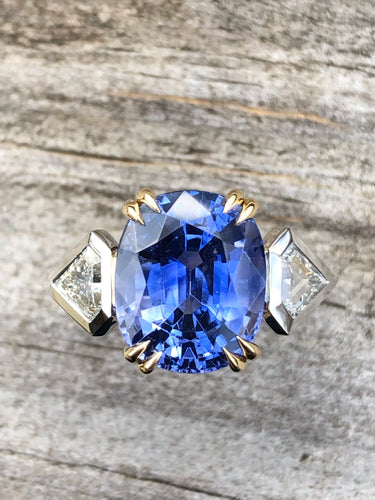 9.29ctw Ceylon Sapphire and Diamond Ring