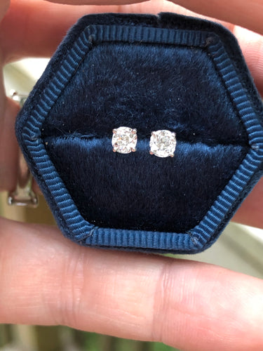 .54 Carat Old Mine Cut Diamond Studs