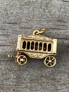 Estate 14k Gold Circus Wagon With Tiger Charm