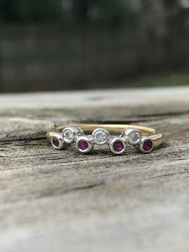 Estate 14k Gold Ruby and Diamond Bezel Band
