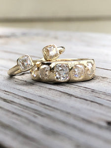 2.58ctw Antique Cushion Cut Burnish Set Ring