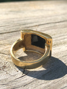 18k Yellow Gold and Black Jade Men's Ring