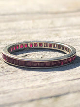 Load image into Gallery viewer, Vintage 14k Carre Cut Ruby Eternity Band