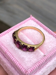 Antique 14k 2.58 Carat Old Mine Cut Garnet Ring
