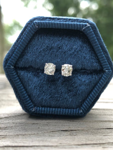 .62 Carat Old Mine Cut Diamond Studs