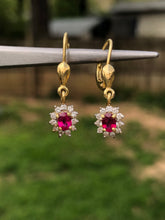 Load image into Gallery viewer, Estate 18k Ruby and Diamond Dangle Earrings