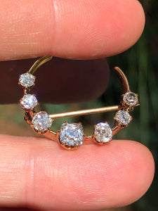 2 Carat Diamond Crescent Brooch