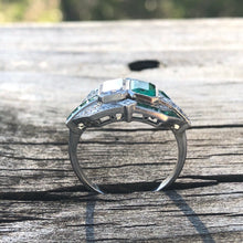 Load image into Gallery viewer, Emerald Cut Diamond And Emerald Twin Stone Platinum Ring