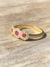 Load image into Gallery viewer, Estate 18k Yellow Gold Ruby And Diamond Ring