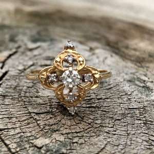 14k Gold and Diamond Ornate Ring