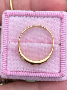 Antique 14k Gold Old Mine Cushion Burnish Set Ring