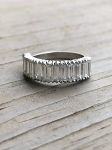 Estate 2.4ct Platinum Baguette Diamond Half Eternity Ring