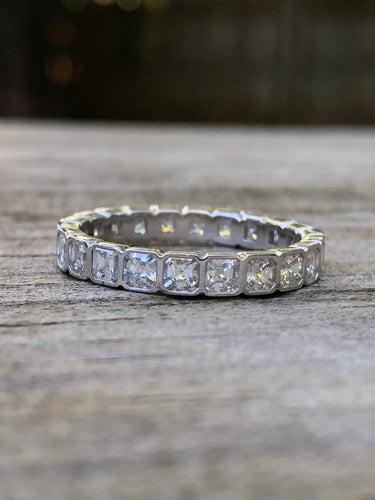 1.85 carat Asscher Diamond Platinum Eternity Band