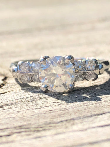 Antique 1.01CTW Platinum Old European Cut Diamond Ring