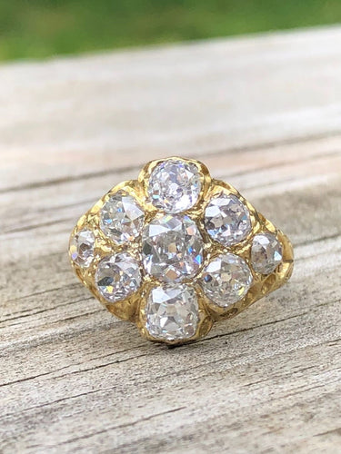 4.55ctw Old Mine Cut Diamond Cluster Ring