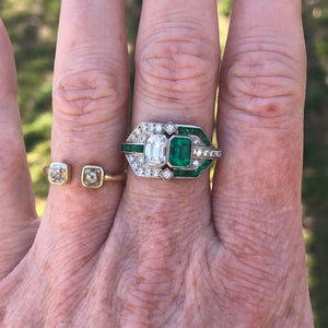 Emerald Cut Diamond And Emerald Twin Stone Platinum Ring