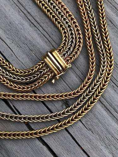18k Gold Tri-Strand Wheat Chain