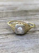 Load image into Gallery viewer, Antique Edwardian .1Carat Old Mine Diamond Engagement Ring