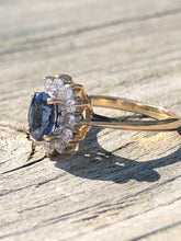 Load image into Gallery viewer, Princess Diana style Sapphire Halo Ring