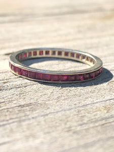 Vintage 14k Carre Cut Ruby Eternity Band