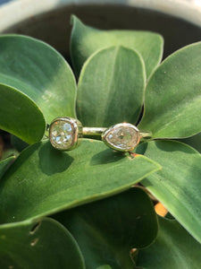 .84ctw Pear and Old Mine Cut Diamond Cuff Ring
