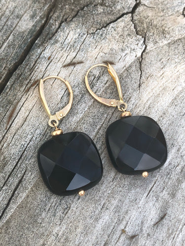 14k Gold and Black Onyx Earrings