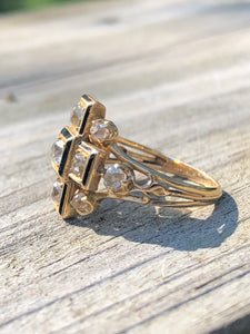 14K Yellow Gold Diamond Cruciform Ring