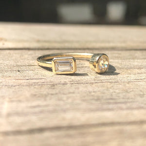 .53 ctw Diamond Cuff Ring (.26 Emerald Cut/.27 OEC)