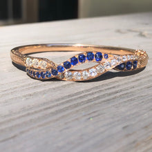 Load image into Gallery viewer, GIA Diamond and Sapphire Bangle