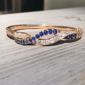 GIA Diamond and Sapphire Bangle