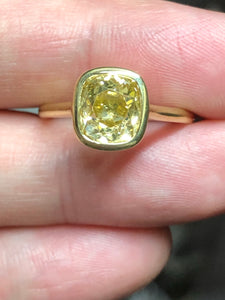 2.05 Carat Yellow Old Mine Cut Bezel Ring
