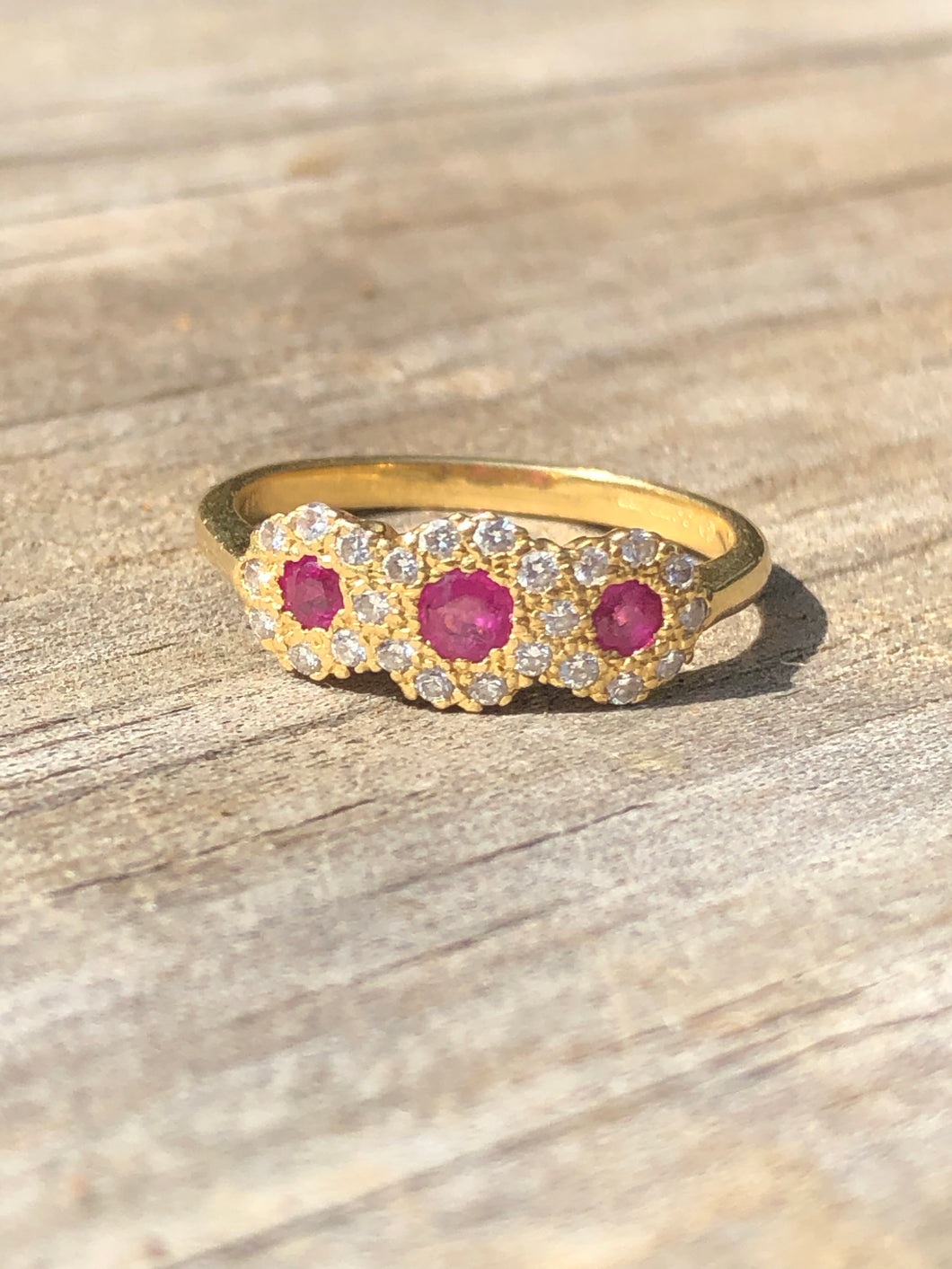 Estate 18k Yellow Gold Ruby And Diamond Ring