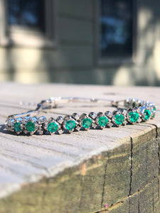 14k White Gold Emerald Bracelet