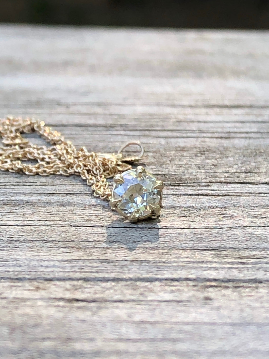 .37 Carat Old Mine Cut Diamond Solitaire Necklace