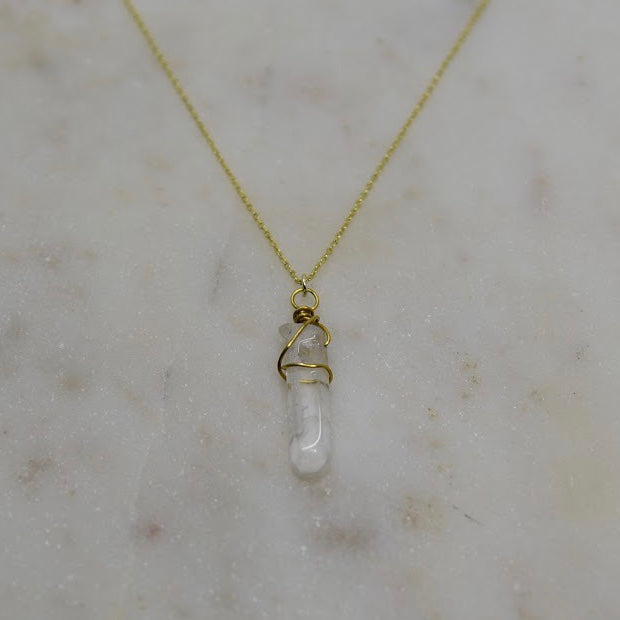 Wire Wrapped Crystal Quartz Necklace