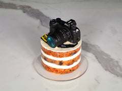 Lemon blueberry naked cake with a handmade 3D black DSLR camera