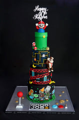 4 tier mario retro gaming cake