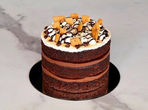 Naked S'mores Chocolate Cake