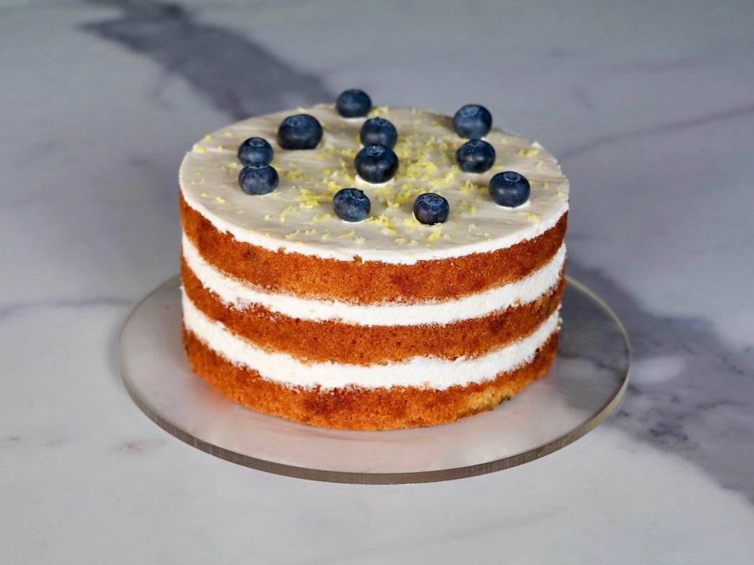Naked Lemon Blueberry Cake