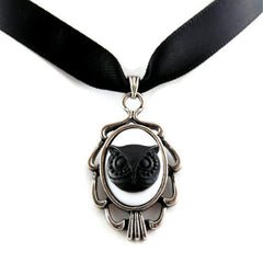 Black Owl Cameo Pendant with Satin Choker Necklace