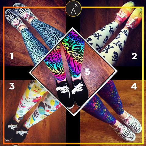 printed leggings, skull leggings, monster leggings, neon leggings, leopard leggings, legging competition