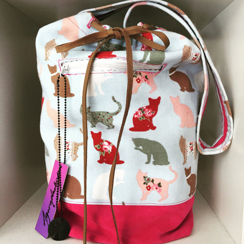 Miss Buckets Kitten print canvas and Suede bohemian shoulder bag | canvas bag | suede bag | Bucket Bag