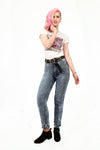 80s Acid Wash high waist jeans upcycled denim studded jeans