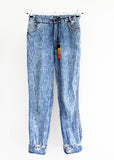 Vintage  jeans upcycled denim studded jeans high waist 80s Acid Wash jeans