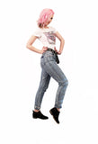 Vintage 80s high waist jeans Acid Wash upcycled denim studded jeans